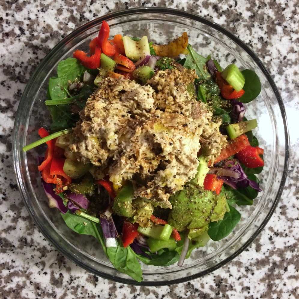 salad with kale, spinach, cabbage, peppers, celery, onions, avocado, chicken salad (made with organic mayo), and apple cider vinaigrette