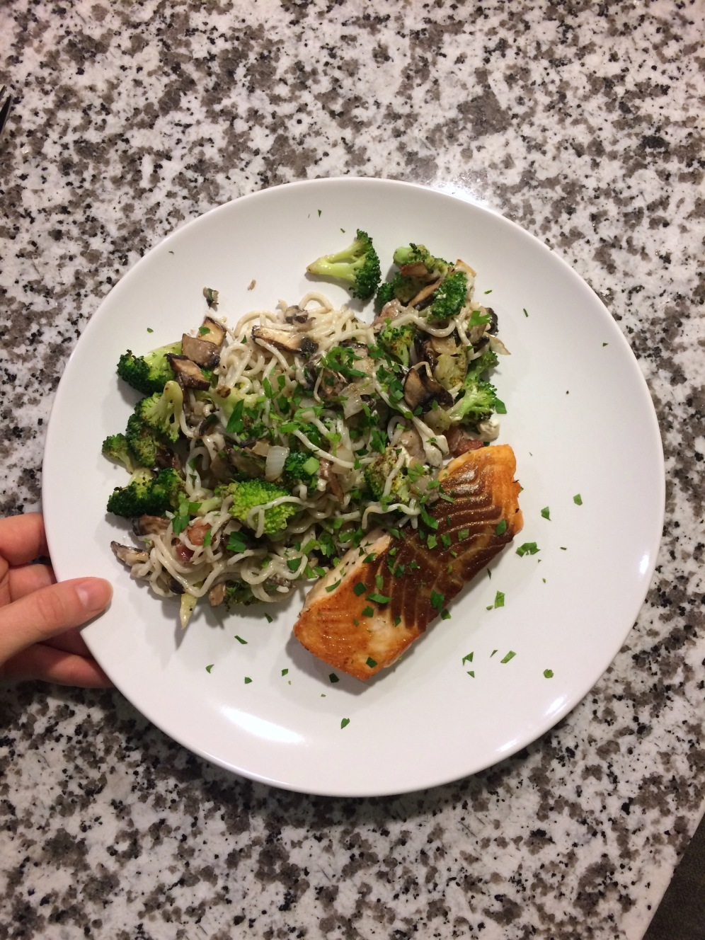 Salmon sauteed in butter, shirataki noodles cooked in butter with broccoli, mushrooms and a parmesan cream sauce